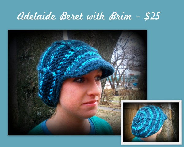 Adelaide Beret with Brim - $25