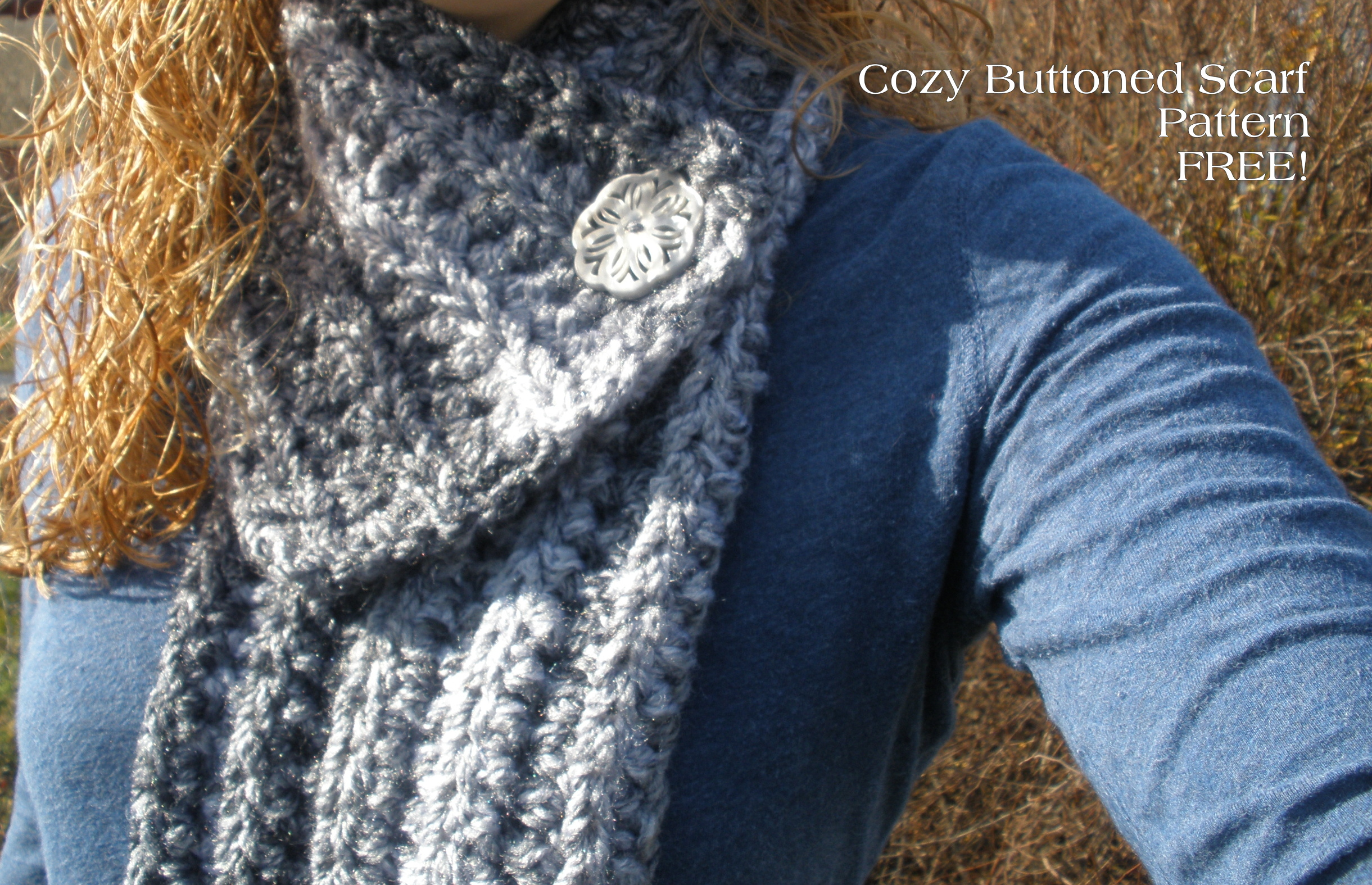 Free Crochet Pattern Button Scarf : Cozy Buttoned Scarf Pattern ? FREE Warming the Heart