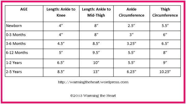 Leg Warmer Sizing Chart Warming The Heart